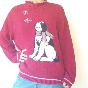 Vintage • oversized red knit dog Christmas sweater
